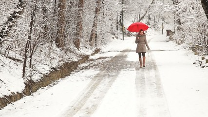 Woman with red umbrella walking in the park during a winter day