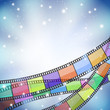 background with color filmstrip and stars