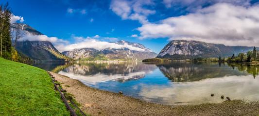 Big panorama of mountain lake between mountains