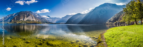 Foto op Canvas Europese Plekken Big panorama of crystal clear mountain lake in Alps