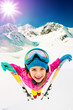 Ski, skier girl enjoying ski vacation, filtered