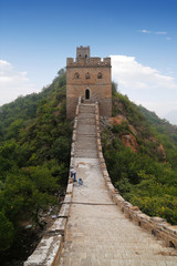 The Great Wall of China with watch tower at the top
