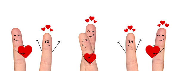 Happy finger couple in love celebrating Valentine's day