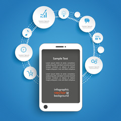 Circles Cycle Smartphone Blue Infographic