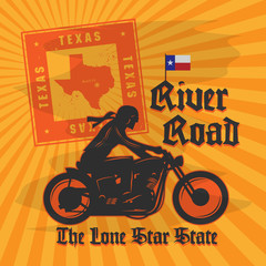 Vintage Motorcycle adventure poster, vector