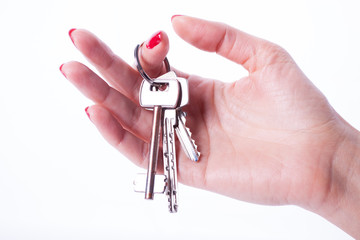 Woman hand holding keys
