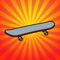 Abstract background with skateboard, vector
