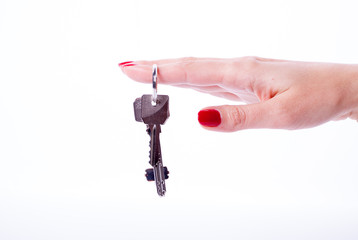 Woman hand holding keys