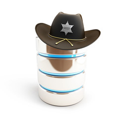 database protected sheriff hat t on a white background