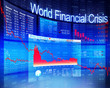 Leinwanddruck Bild - World Financial Crisis Economic Stock Market Banking Concept