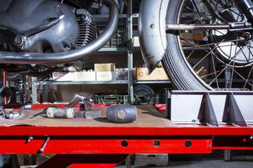 motorbike on a work platform .
