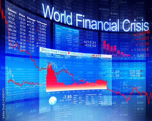 Leinwanddruck Bild World Financial Crisis Economic Stock Market Banking Concept