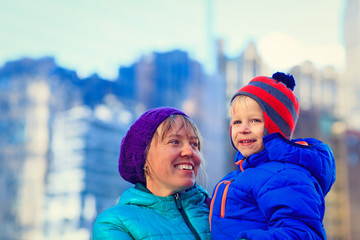 mother and son in downtown Manhattan, New York City