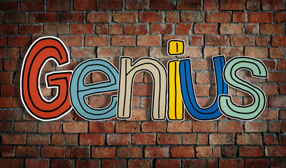 Colourful Word Genius on a Brick Wall Background Concept