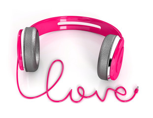 pink  Headphones with love shape cable