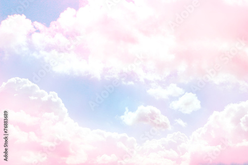 Blue sky background with purple clouds - 76883689