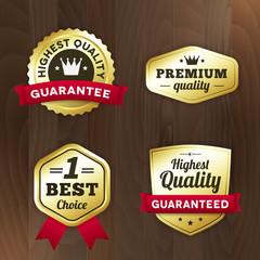 set business gold premium label on wood vector background