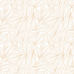 Brown leaves seamless pattern