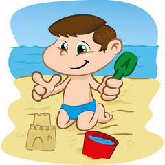 Character child playing in the sand on the beach