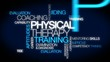 Physical therapy training coaching words tag cloud video