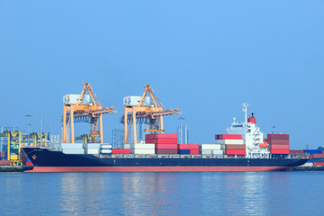 commercial ship and container on port use for import ,export and