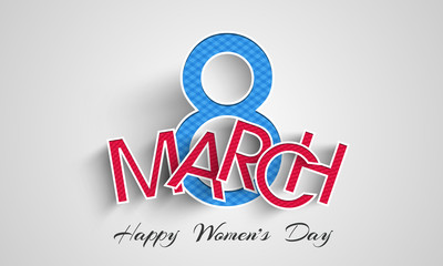 Paper text 8 March for Happy Women's Day celebration.