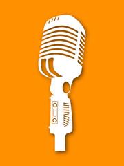 Musical instrument microphone on orange background.