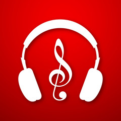 Musical notes with headphone on red background.