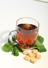Tea with mint and sugar