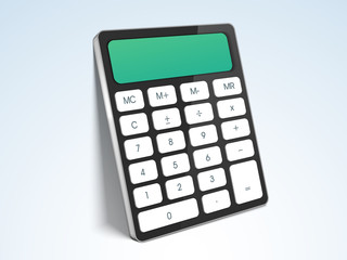 Useful electronic device calculator on sky blue background.