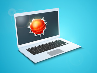Red Cricket ball coming out from a shiny laptop screen.