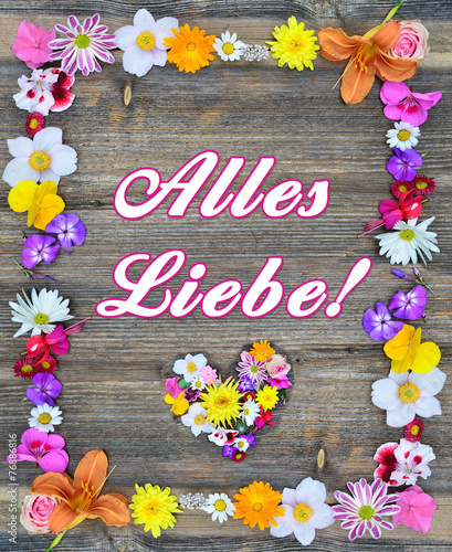 canvas print picture Alles Liebe - Blumen auf Holz