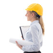 side view of dreaming business woman architect in builder helmet