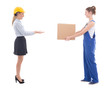 delivery concept - woman in workwear giving cardboard box to bus