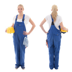 front and back view of happy woman in blue builder uniform holdi