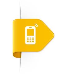 Mobile phone - Gelber Sticker Pfeil mit Schatten
