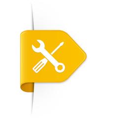 Screwdriver and spanner - Gelber Sticker Pfeil mit Schatten
