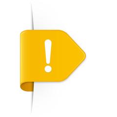 Exclamation sign - Gelber Sticker Pfeil mit Schatten