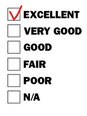 test result check boxes with marks from excellent to poor