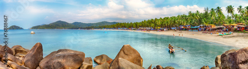 Goa beach panorama, Palolem, India - 76888467