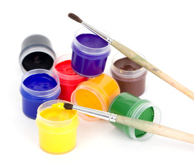 gouache and brushes isolated on white