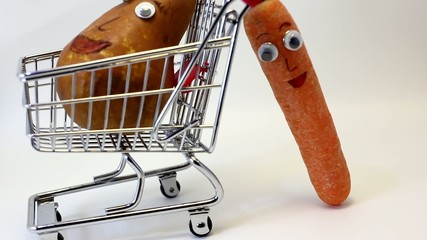 Orange carrots pushes the shopping cart with a PEAR