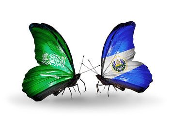 Two butterflies with flags Saudi Arabia and Salvador