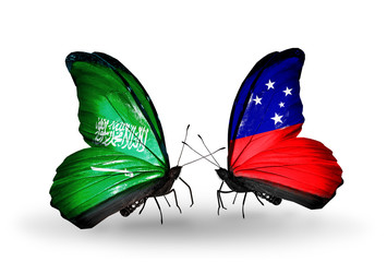 Two butterflies with flags Saudi Arabia and Samoa