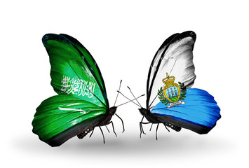 Two butterflies with flags Saudi Arabia and San Marino