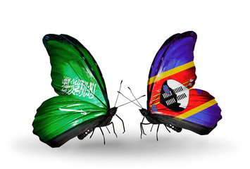 Two butterflies with flags Saudi Arabia and Swaziland