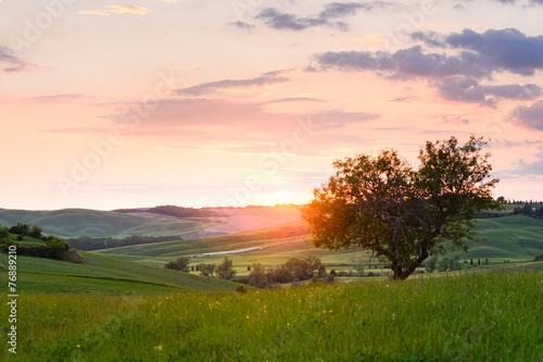 Aluminium Heuvel sunset Tuscany
