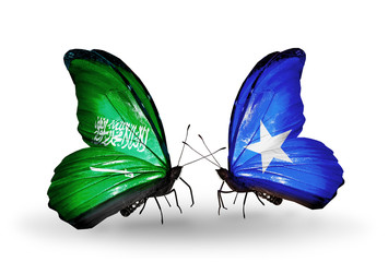 Two butterflies with flags Saudi Arabia and Somalia