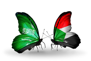 Two butterflies with flags Saudi Arabia and Sudan