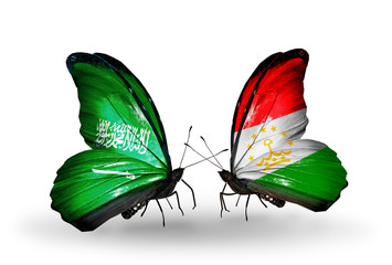 Two butterflies with flags Saudi Arabia and Tajikistan
